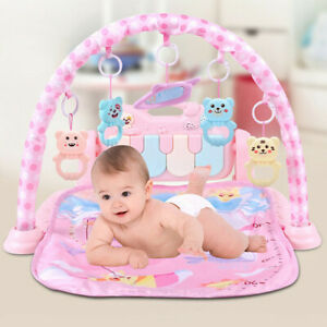 Girl Infant Toys for 0-6-9 Month Large Baby Play Gym,Activity Mat Boy Pink Baby Piano Playmat with Melody Breathable Baby Care Jungle Gym,Thick Play Mats for Infants Tummy Time