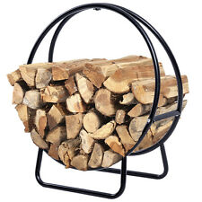 "24"" Feet Tubular Steel Log Hoop Firewood Storage Rack Holder Round Display New"
