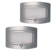 2 Stk.Nachtleuchte Wandleuchte mit LED/Bewegungsmelder/batteriebetriebene silber