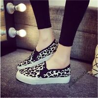 New Style Womens Leopard Printed Round Toe Platform Slip On Loafers Casual Shoes