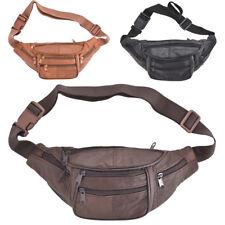 Unisex Genuine Soft Leather Waist Bag Bumbag With Multiple Zips