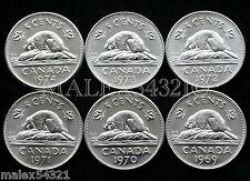 1969 TO 1974 ELIZABETH II 5 CENT SET *CHOICE* UNC (6 COINS)