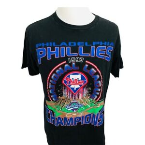 Vintage Philadelphia Phillies 1993 World Series Starter Mens T-Shirt Black L