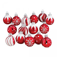 Decorated Glass Ball Christmas Ornament Set Of 15 Xmas Tree Hanging Decorations