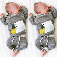 0-3M 2pcs Kids Baby Boys Long Sleeve Hooded Coat+Pants Outfits Kids Clothes Sets