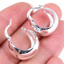 925 Sterling Silver Classic Wide 20mm Plain Huggie Pierced Hoop Earrings C355