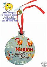 décoration de noël en MDF à suspendre avec ruban personnalisé avec prénom réf 11