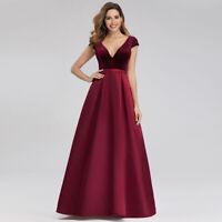 Ever-Pretty A-Line Bridesmaid Dress Long V-Neck Evening Ball Prom Gown Burgundy