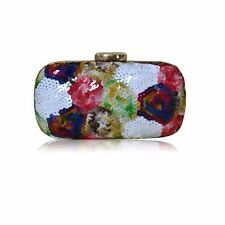 WOMENS MULTICOLOURED SEQUIN HARD CASE CLUTCH BAG HAND FORMAL WEDDING PARTY