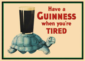 Vintage Poster GUINNESS Tortoise Drink Advertising Beer PRINT Home Bar Pub A3 A4