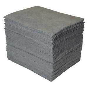 BRADY SPC ABSORBENTS GP100 Absorbent Pad,Universal,Gray,PK100