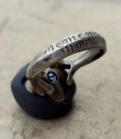 Medieval Silver and Gold ring Emerald stone MEMENTO MORI Skull  Enamel 17th