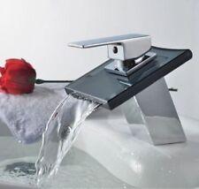 Cascade verre Fontaine Mélangeur Bassin robinet d'évier chaud froid Chromé robinet
