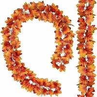 2Pcs Artificial Autumn Fall Maple Leaves Garland Hanging Plant for Home Garde