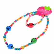1 Set Cute Four Star Ladybugs Wood Beads Girl's Necklace Children's Jewellery