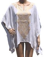 Womens Beach Cover Up Tunic White Metallic Gold Kimono Sleeve Free Size