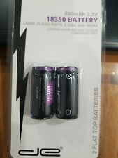 2 FLAT TOP de 800mAh 3.7V 18350 LASER, Flashlight Rechargeable Li-Ion Battery