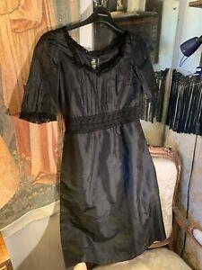 60's Thick Silk Lace Dress. Black 36bustx39lgth. Quality