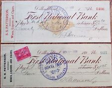 Dillon, Montana MT PAIR 1899/1900 Checks: First National Bank - Wine & Cigars