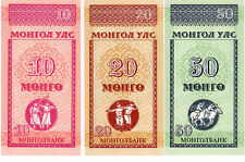 * Mongolia 10 +20 +50 Mongo Banknote *