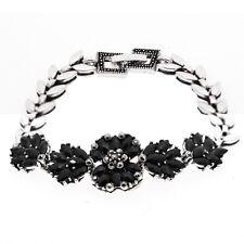 Flowers Luxury Vintage Style Black Stones Antique Silver Leaves Bracelet BB189