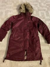 Abercrombie & Fitch Women's SHINY Nylon Parka Coat Jacket Small Burgundy NWT