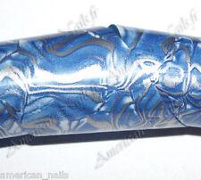 Rouleau Foils Nail Art Foil déco d'ongles Marbré Bleu et Argent 150 cm