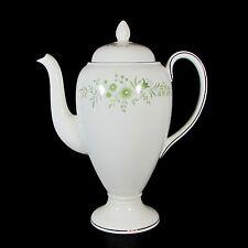 "Wedgwood Westbury 10"" Coffee Pot & Lid 5 Cup Bone China England Green Floral"