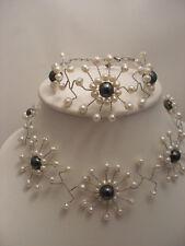 Beautifl Pearl And Hematite Bracelet And Choker