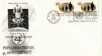 UNITED NATIONS 1965 POPULATION TRENDS & DEVELOPMENT PAIR ON ONE FIRST DAY COVER