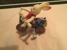 Vintage Bunny Rabbit on Tricycle Wind up Tin Litho Toy Korea Works Great!
