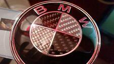 1pc BMW 82 mm Negro y Plateado Emblema frontal de fibra de carbono grado Premium Resina Epoxi