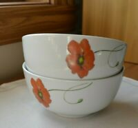 """Set of 2 Tabletops Gallery PALERMO POPPY Cereal Bowls 5 1/2"""" EUC"""