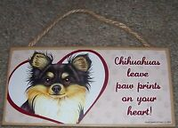 """""""(choose dog breed) leave pawprints on heart"""" dog hanging wooden sign 5"""" x 10"""""""