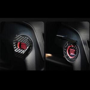 Carbon Fiber Engine Start Stop Push Button Car Accessories Switch Cover Trim Car
