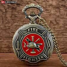 Fire Fighter Necklace Bronze Vintage Quartz Floral Pocket Watch Pendant New Gift