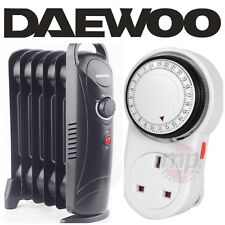 Daewoo 800W Black Portable Oil Filled Radiator Heater with Thermostat & Timer