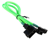 Green Molex 4-pin to 3x3 Pin Fan Cable Cord Adapter Braided Premium Sleeve