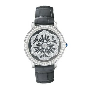 Solid 925 Sterling Silver women's wrist watch Flower round Dial Black Vegan belt