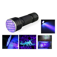 UV Ultra Violet 21 LED Flashlight Mini Blacklight Aluminum Torch Light Lamp  JR