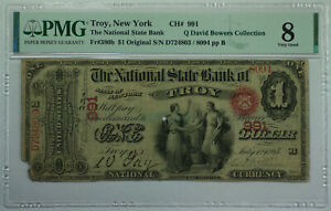 1865 $1 Troy New York NY National State Bank CH# 991 Fr. 380b PMG VG-8 Bowers