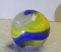 #13057m Large Akro Agate Blue and Yellow Popeye Marble .75 Inches