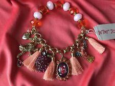 Betsey Johnson Tropical Punch Orange Crystal Monkey Skull Cameo Parrot Bracelet