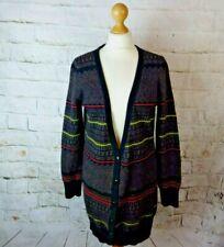 Topshop fair isle nordic boyfriend cardigan soft warm 12 multicoloured long