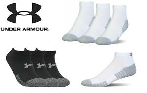 Under Armour Unisex UA Heatgear Medium 3 Pack Sports Socks White-Black