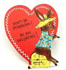 Vtg Hallmark Donkey Valentines Card Ephemera Paper Burro Greeting 1940s 1950s