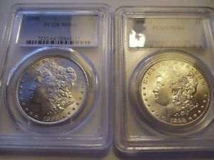 1898 & 1898-O Morgan Dollar PSGS MS64 frosty gems