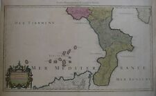 Original 1781 Jaillot Map KINGDOM OF NAPLES Italy Calabria Messina Tursi Cosenza