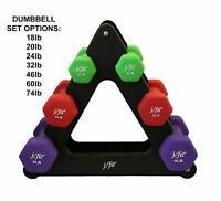 J/Fit Dumbbell Set W/Durable Rack | Solid Design | Double Neoprene Coated Workou