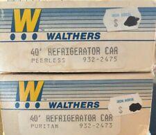 Two Walthers HO Scale 40' Refrigerator Cars - Puritan & Peerless (NIOB)